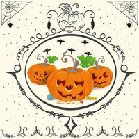 feriado vintage frame três abóboras halloween vetor