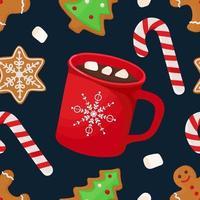 padrão sem emenda de natal com chocolate quente, pirulito e pão de gengibre vetor