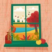 janela de outono com vista para a colina, ilustração vetorial fofa vetor
