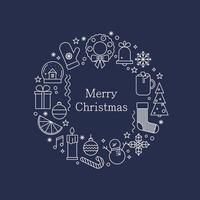 guirlanda de Natal feita de ícones de linha. cartão de feliz natal. vetor