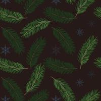padrão sem emenda de Natal com galhos de pinheiro e flocos de neve. vetor