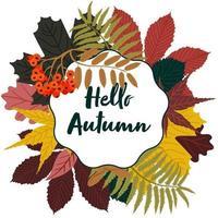 Olá fundo de outono com quadro de folhas. ilustração vetorial vetor