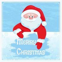 o papai noel limpa o vidro congelado. cartão de feliz natal. vetor