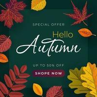 banner de outono com folhas. modelo de vetor para banner de venda