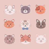 coleção de gato fofo. rostos de gatos, animais de estimação, gatinhos, animais fofos. vetor