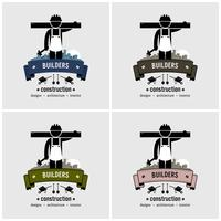 Design de logotipo de trabalhador de construção. vetor
