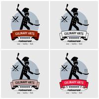 Design de logotipo de restaurante e chef. vetor