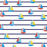 Veleiros em listras marinhas. vetor