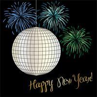 gráfico de véspera de ano novo com bola de discoteca e fogos de artifício vetor