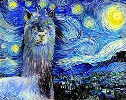 pintura de retrato paródia impressionista de alpaca engraçada noite estrelada vetor