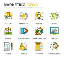 Conjunto simples de negócios e ícones de linha de Marketing para o site e aplicativos móveis