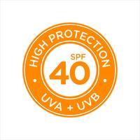 UV, proteção solar, alta FPS 40 vetor