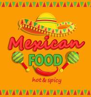 Panfleto de comida mexicana com picante tradicional. vetor