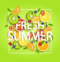 Fundo de verão com frutas. vetor