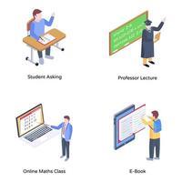 conjunto de educação online vetor