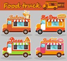 Conjunto de caminhão de comida. vetor