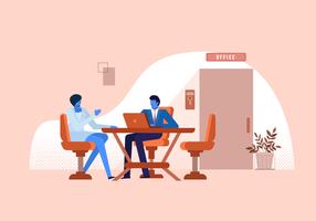 Ilustração de plana de vetor de reunião de trabalhador de escritório