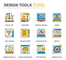 Ícones de linha simples ferramentas de Design Set para site e aplicativos móveis vetor