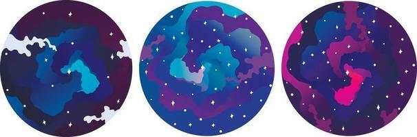 conjunto de ícones redondos do céu cósmico. adequado para o modelo do instagram. vetor