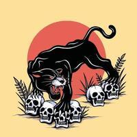 pantera negra pisando no crânio vetor