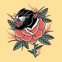 rosa vermelha com cabeça de pantera negra vetor