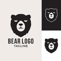 urso rosto silhueta logotipo. animais de ilustrações de gráficos vetoriais vetor