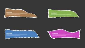 conjunto de banner com moldura de folha de papel rasgado e colorido vetor