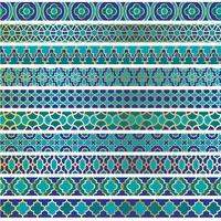 padrões de fronteira marroquina de ouro azul vetor