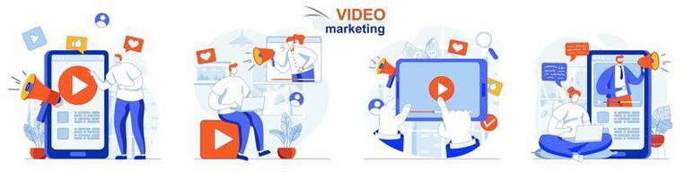 conceito de marketing de vídeo define cenas isoladas de pessoas em design plano vetor