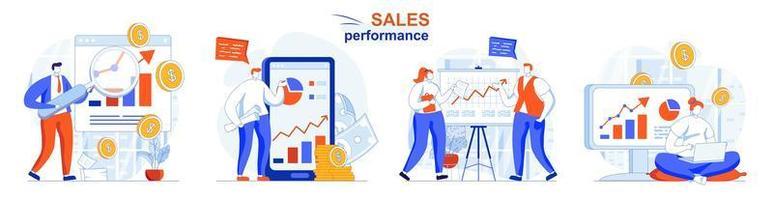 conceito de desempenho de vendas define cenas isoladas de pessoas em design plano vetor
