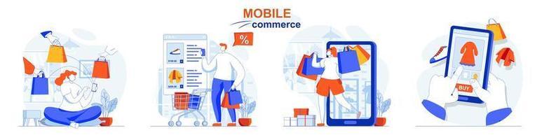 conceito de comércio móvel define cenas isoladas de pessoas em design plano vetor