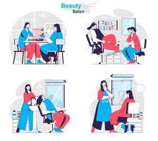 conceito de salão de beleza define cenas isoladas de pessoas em design plano vetor
