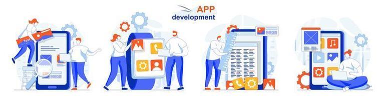 conceito de desenvolvimento de aplicativos define cenas isoladas de pessoas em design plano vetor