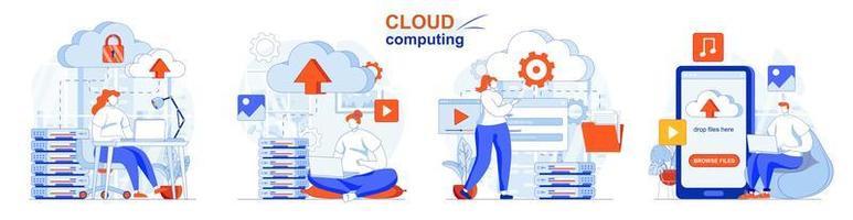 conceito de computação em nuvem define cenas isoladas de pessoas em design plano vetor