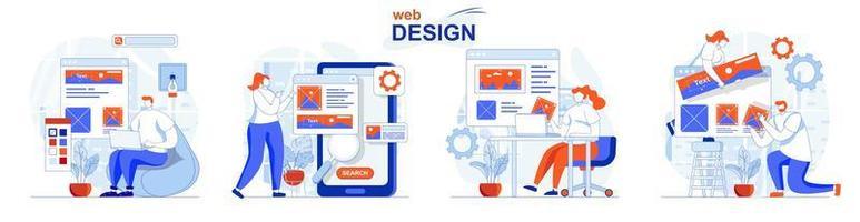 conceito de web design define cenas isoladas de pessoas em design plano vetor
