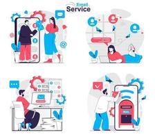 conceito de serviço de e-mail define cenas isoladas de pessoas em design plano vetor