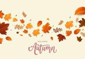 design elegante folhas de outono fundo vetor