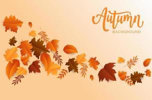 fundo de outono simples e elegante com design de folha plana vetor