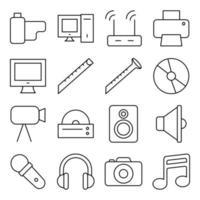pacote de ícones lineares de música e entretenimento vetor