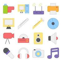 pacote de ícones lisos de música e entretenimento vetor