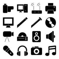 pacote de ícones sólidos de música e entretenimento vetor