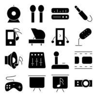 pacote de ícones sólidos de música e mídia vetor