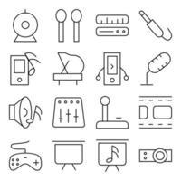 pacote de ícones lineares de música e mídia vetor