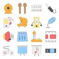 pacote de ícones planos de música e mídia vetor