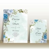 lindo modelo de cartão de convite de casamento floral vetor