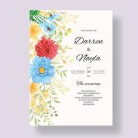 lindo modelo de cartão de convite de casamento em aquarela floral vetor