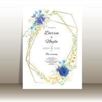 lindo cartão de convite de casamento em aquarela floral vetor