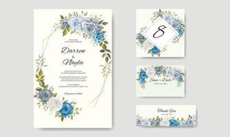 lindo desenho de modelo de convite de casamento floral desenhado à mão vetor