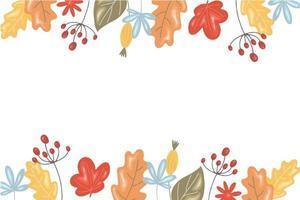 fundo de outono com folhas e grãos em um fundo branco vetor