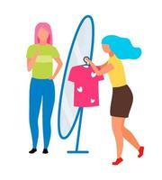 mulher vendendo roupas em personagens vetoriais de cores semi-planas na loja vetor